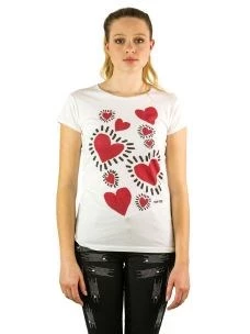 T-Shirt Donna M/C Stampa Cuori Rossi-Made in Italy