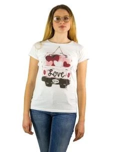 T-Shirt Donna M/C Stampa Love Macchinina-Made in Italy