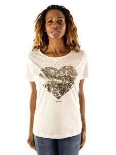 T-Shirt Donna Maniche corte Cuore Borchie