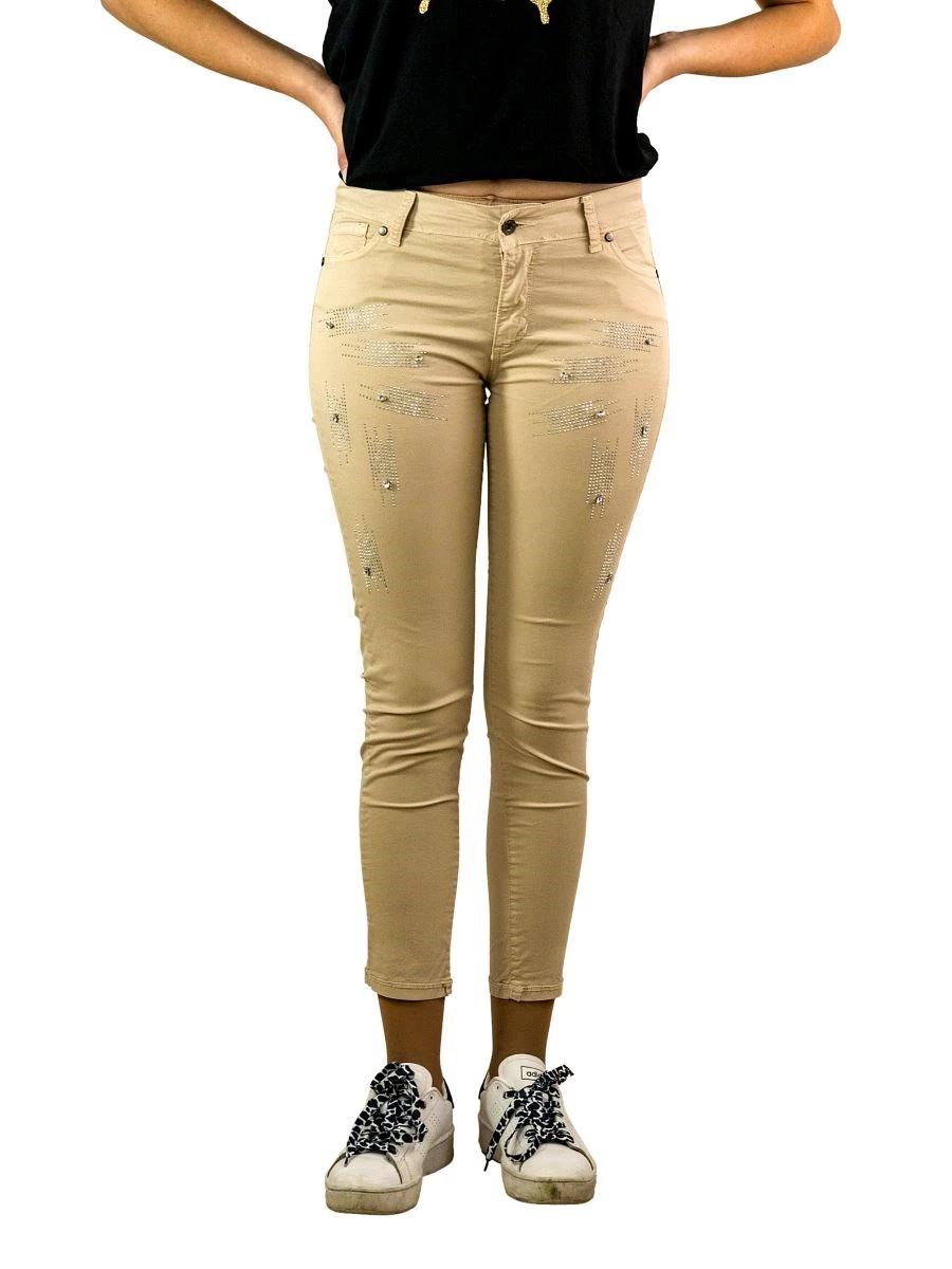 Pantalone Donna Stretch con Applicazioni di Strass-Made in Italy