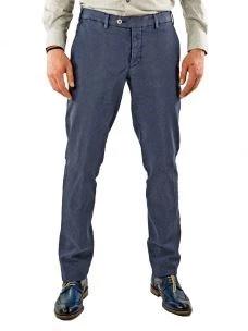 Pantalone Uomo-Chino-Stretch-Microfantasia-Made in Italy-Blu