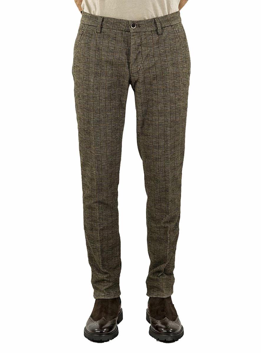 Pantalone Chino Uomo Principe di Galles Stretch
