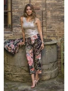 Pantalone Donna Induit Stampa Tropicale