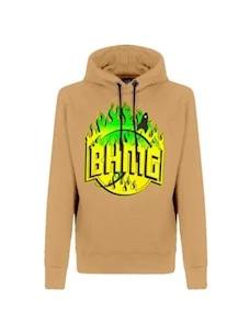 Felpa cappucccio logo BHMG fiammato