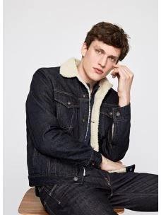 Giacca jeans uomo imbottita colletto a camicia PEPE JEANS