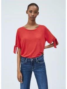 BRITNEY t-shirt fiocco maniche collo ampio PEPE JEANS
