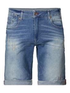 Short jeans uomo PETROL risvolto e rotture