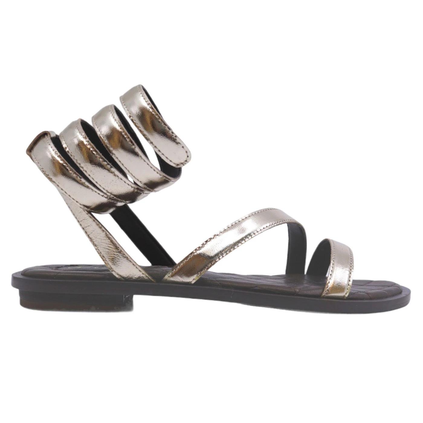 Hadel 1SA526 Kois sandalo da donna in pelle marrone oro