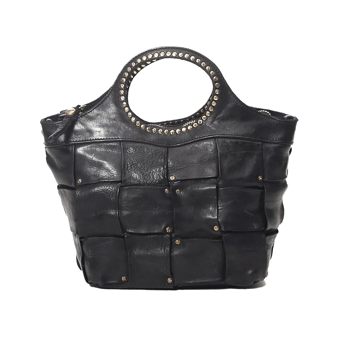 Campomaggi Shopping C025760 borsa in pelle intrecciata nera