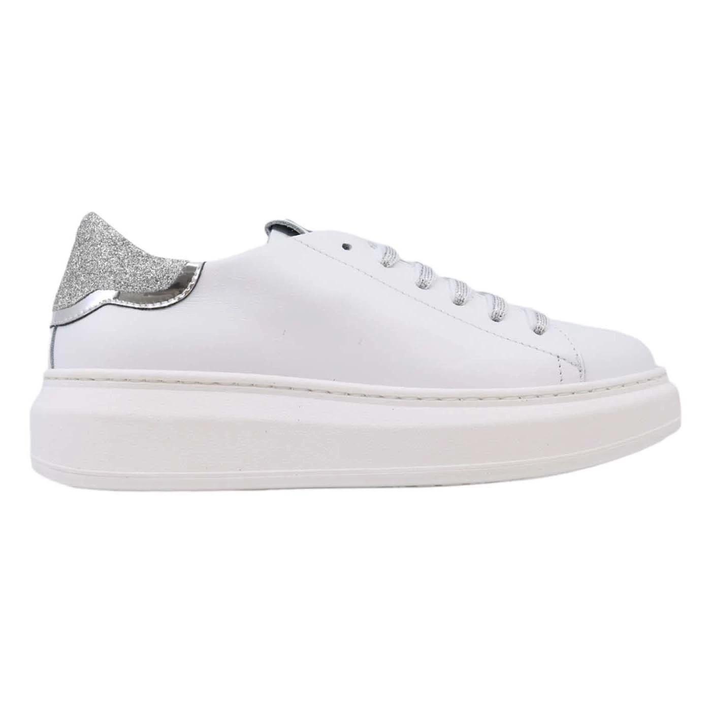 Gio+ G501A Sneaker donna in pelle bianca e argento