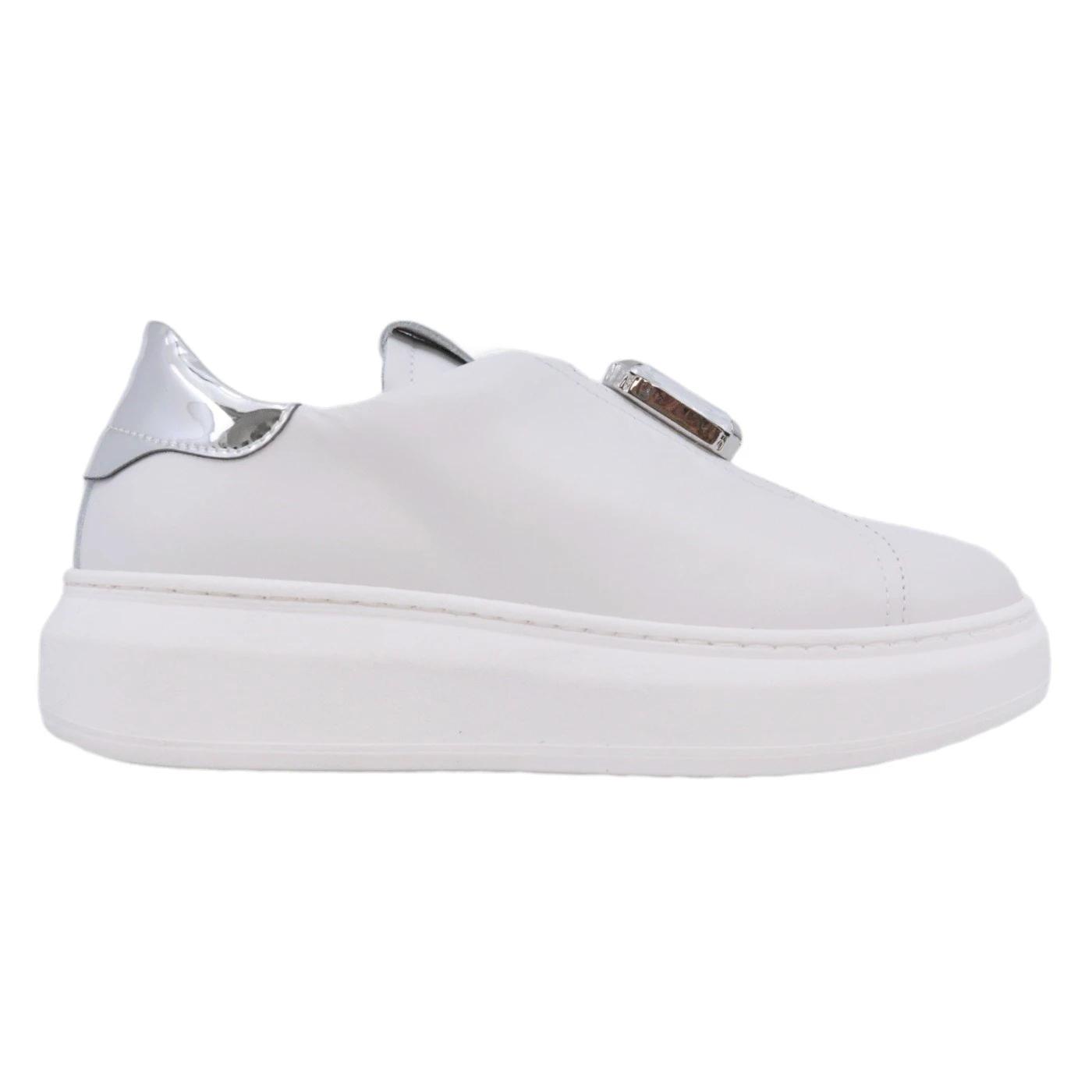 Gio+ G910B Sneaker donna in pelle bianca e argento