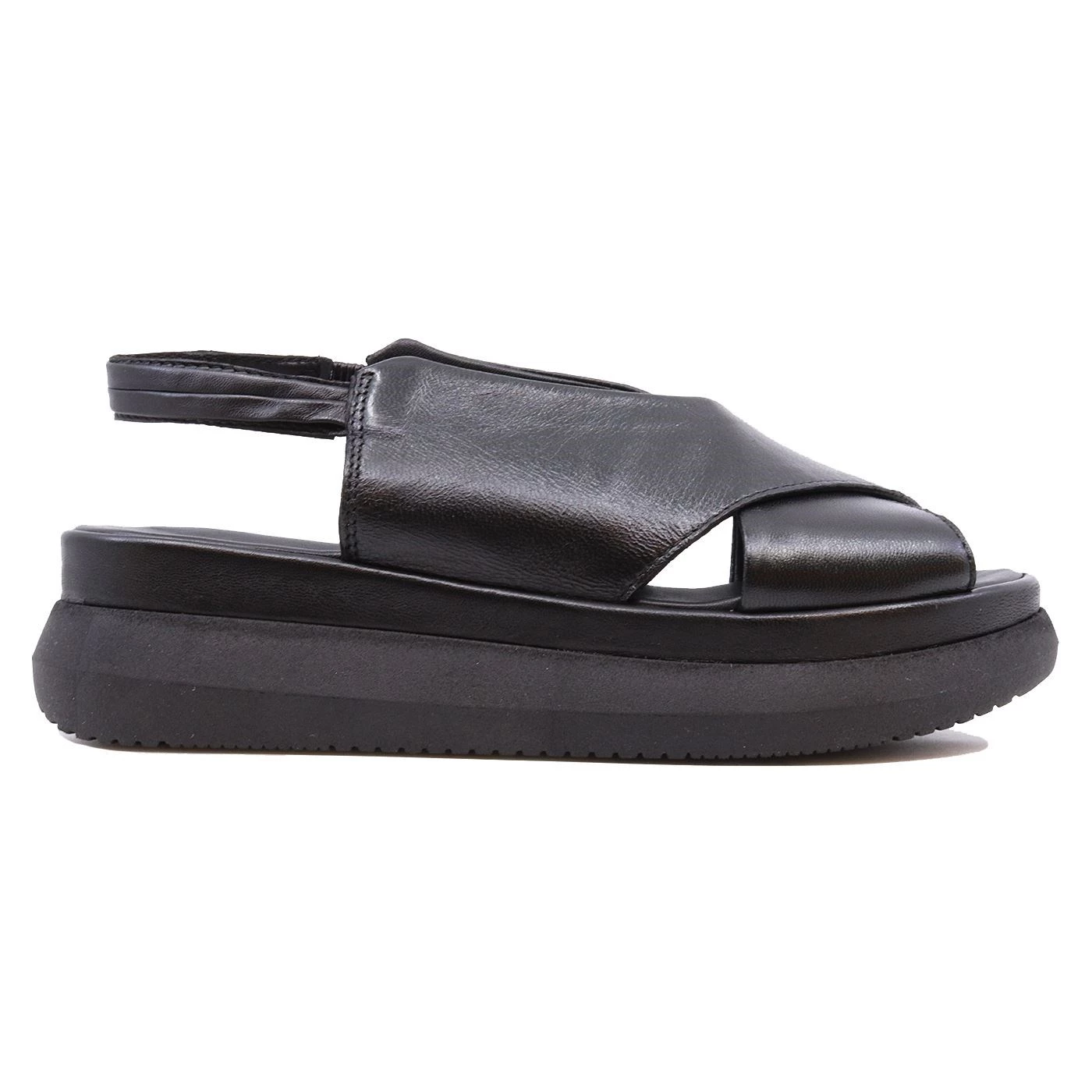 Mjus M38013 sandalo da donna con zeppa in pelle nera