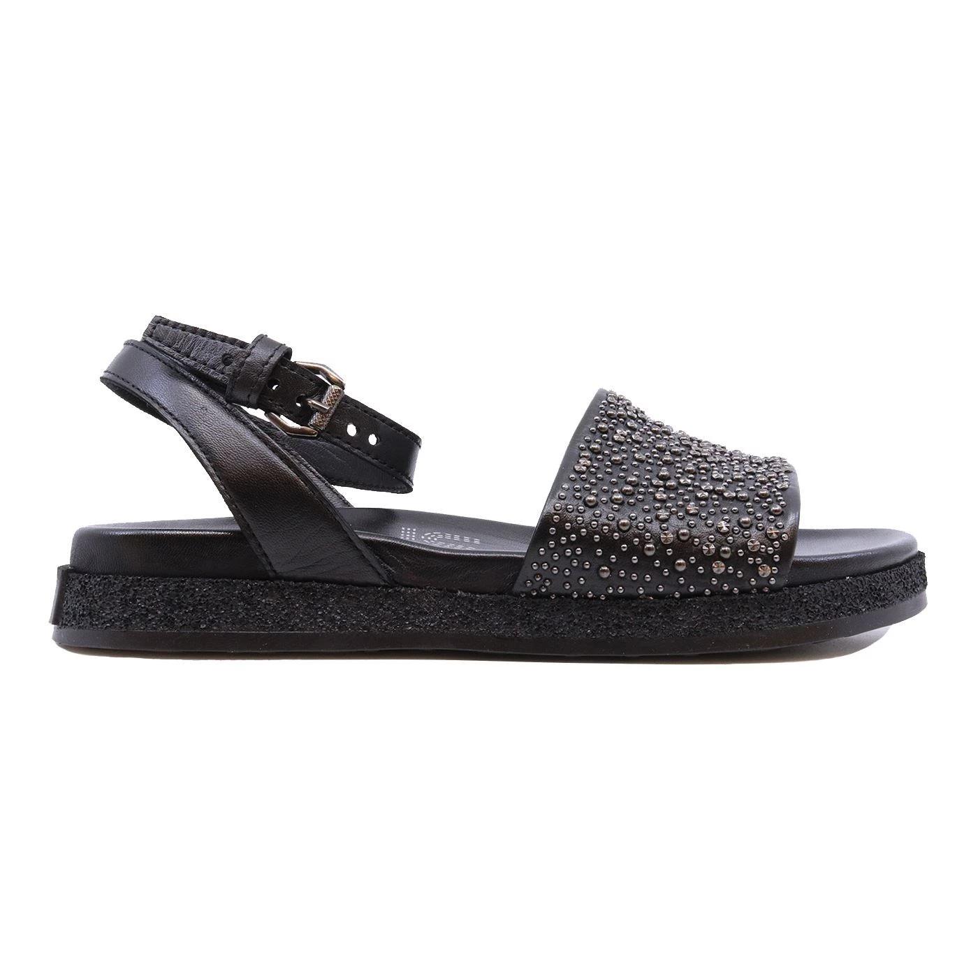 Mjus M92004 sandalo da donna in pelle nera con borchie