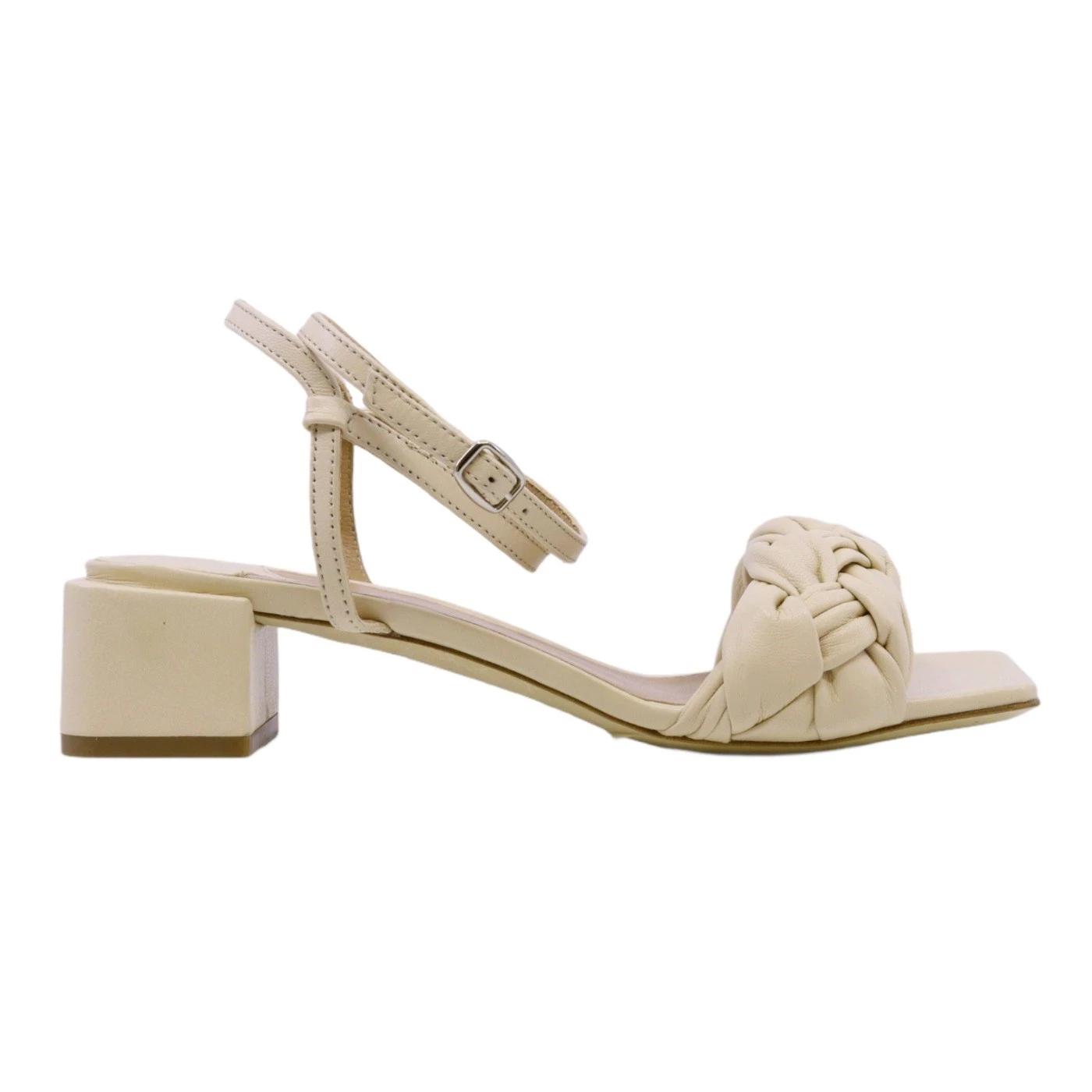 The Seller S1308 sandalo da donna in pelle crema