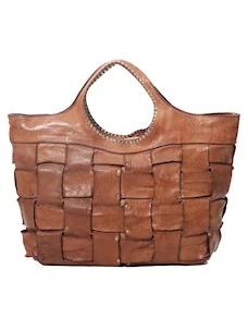 Campomaggi Shopping C024640 borsa in pelle intrecciata cognac