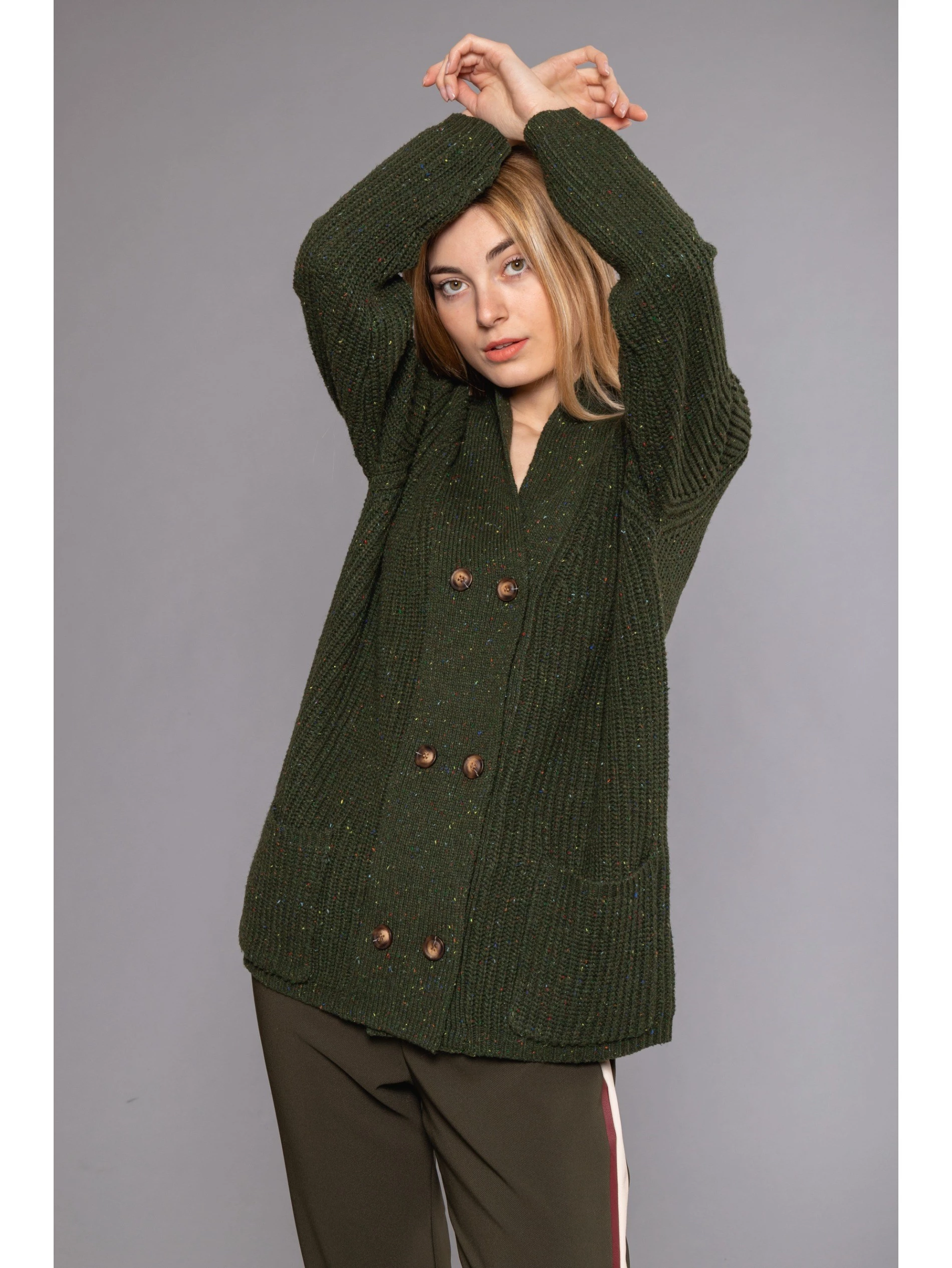 OVER CARDIGAN WITH DOUBLE FRONT BUTTONS