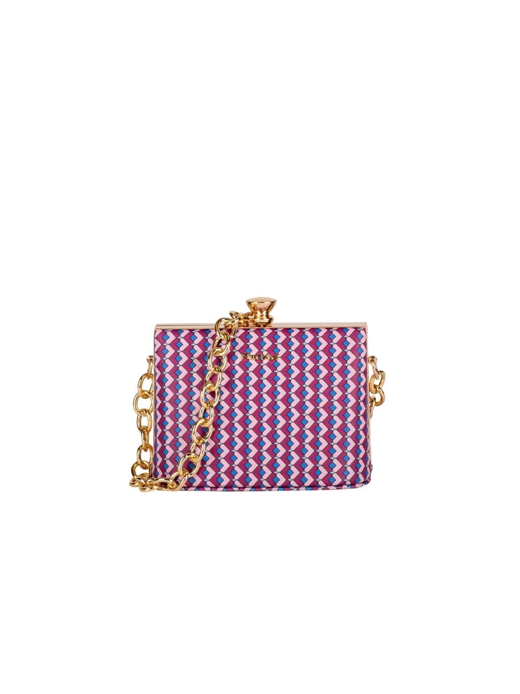 CLUTCH WITH PATTERNED CHAIN IN DIAMONDS