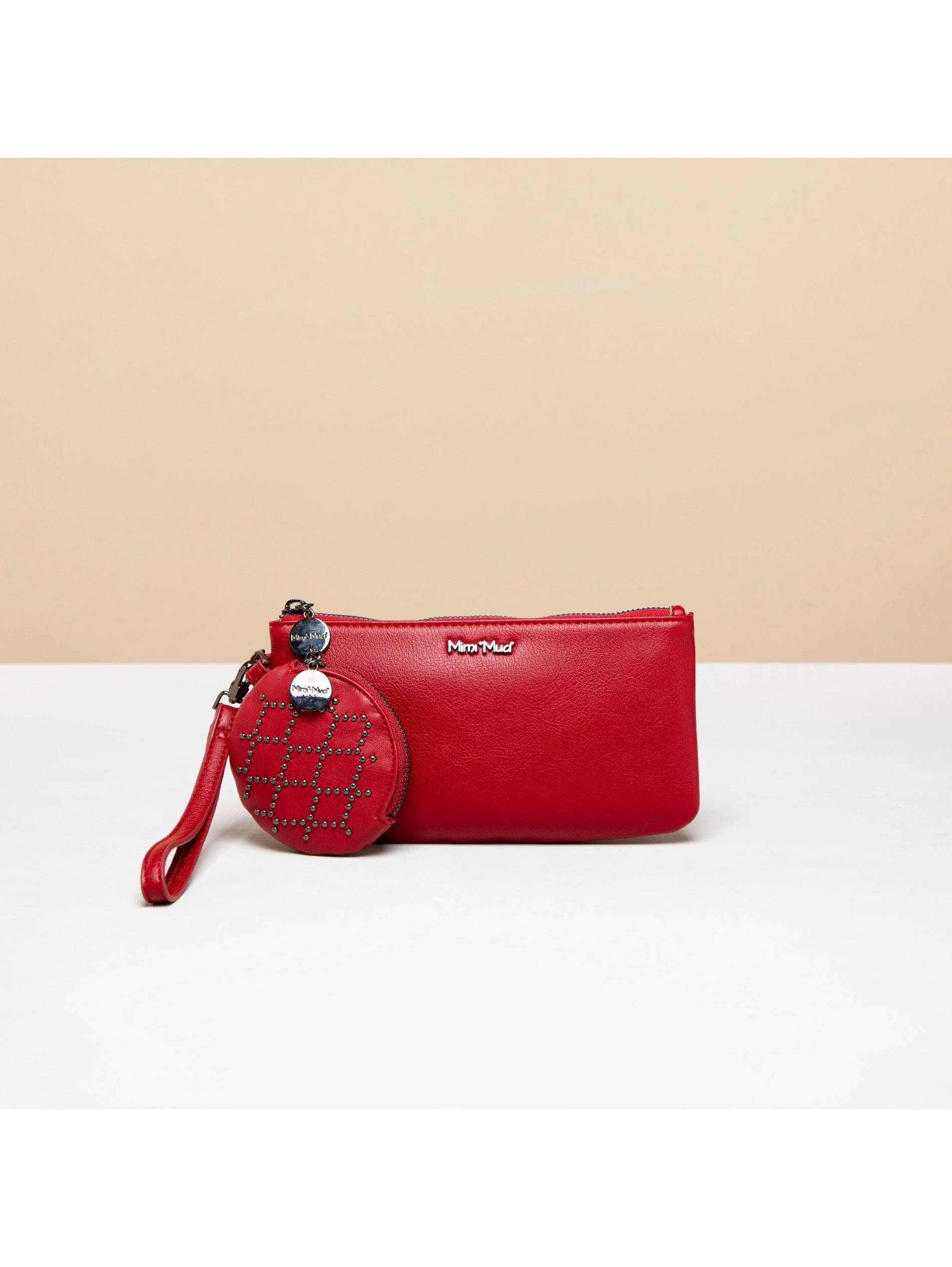 POUCH WALLET WITH PURSE AND DIAMOND STUDS