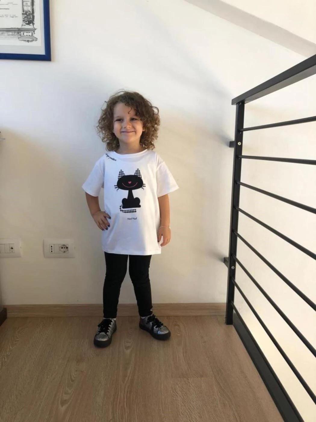 BABY GIRL T-SHIRT WITH KITTEN PIED DE POULE