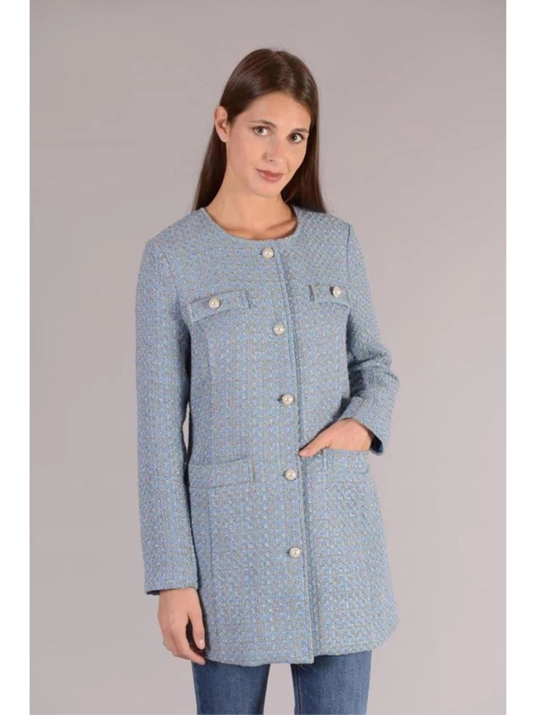 TWEED DUSTER WITH BUTTONS AND COMFORTABLE POCKETS