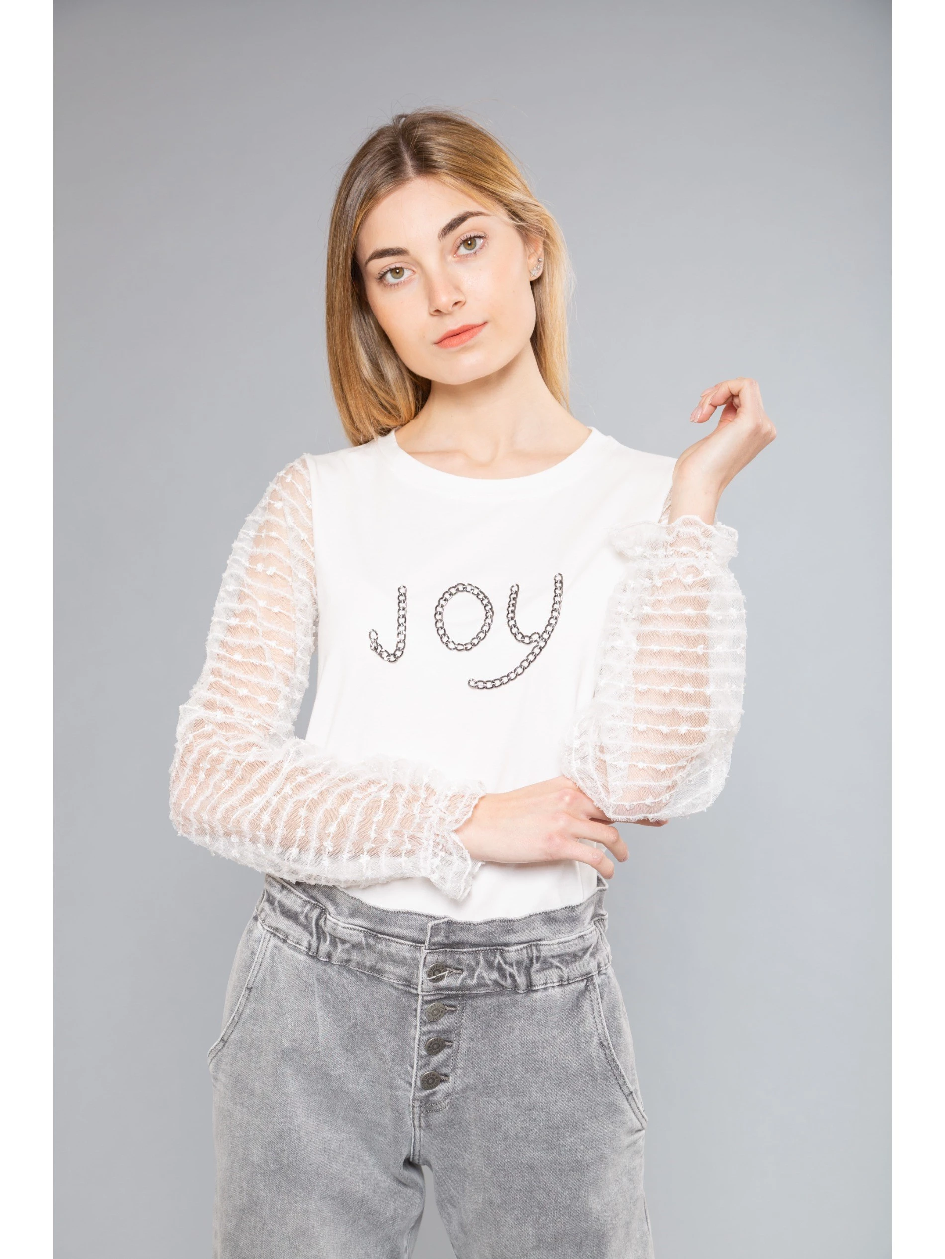"""""""JOY"""" T-SHIRT WITH TULLE SLEEVES"""
