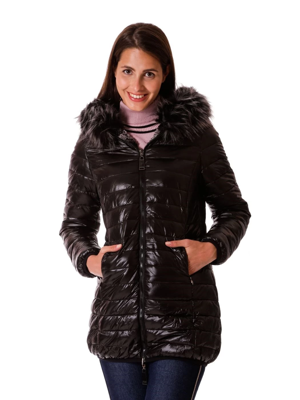 Double face long down jacket