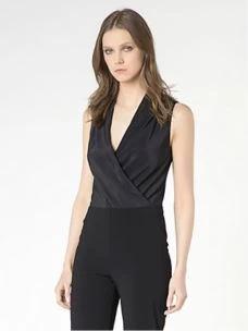 Camicia body nero in crêpe de chine 2C0901AV35-1