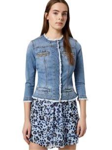 Giacca di jeans con castoni gioiello UA0033D3106