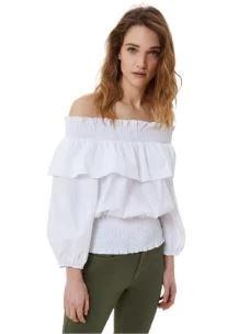 Blusa con scollo Bardot      WA1576T4173
