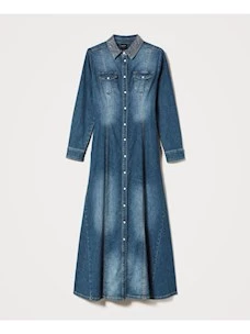 LONG DRESS IN JEANS WITH STUDS AROUND THE NECK