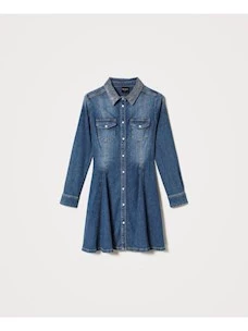 CHEMISIER DRESS IN JEANS WITH STUDS AROUND THE NECK