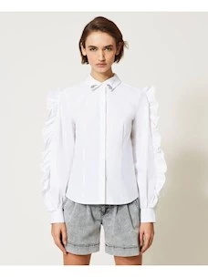 POPELINE SABIK SHIRT WITH EMBROIDERY AND TWINSET RUFFLES