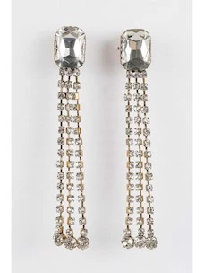 EARRINGS WITH TWINSET CASTONS AND RHINESTONES