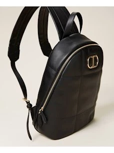 Quilted backpack with Twinset logo