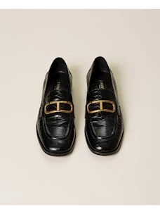 Twinset coconut print leather loafers