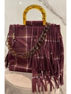 Wool handbag with fringes and shoulder strap La Milanesa chain