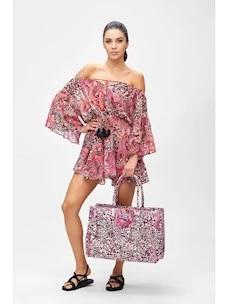 Short dress fabric chiffon pattern F**K