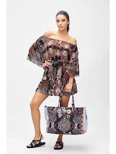 Short dress patterned chiffon fabric F**k