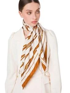 Scarf in silk twill belt-logo great Elisabetta Franchi