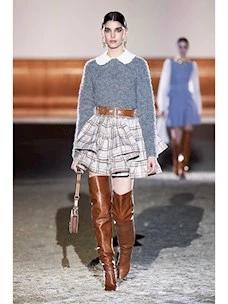 Skirt with check-chain print ruffles Elisabetta Franchi