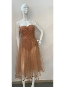 Midi bust dress with tulle band and elisabetta franchi lurex