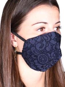 Mascherine Pizzo Cotone Donna Blu con tasca filtro Tnt (1PZ)