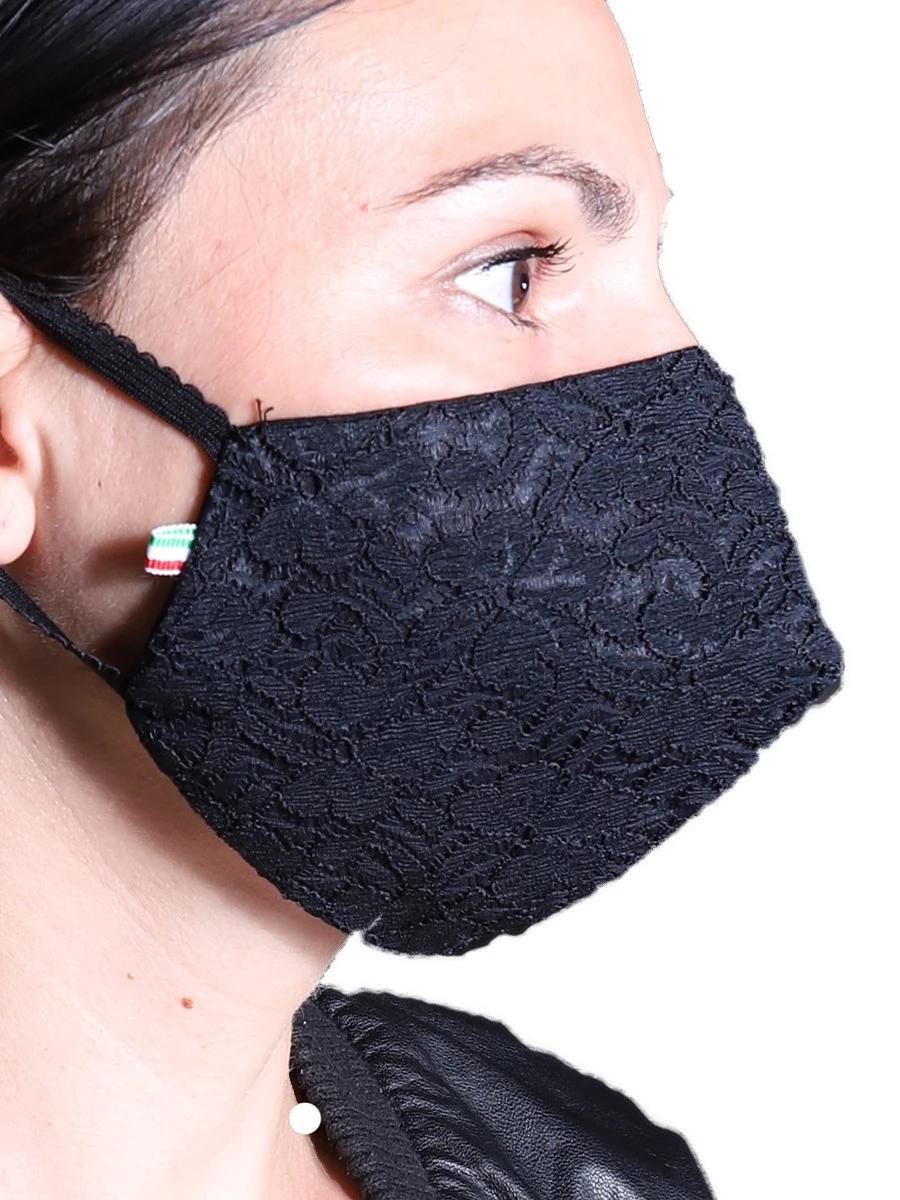 Mascherine Cotone Donna Nero con tasca filtro Tnt (1PZ)