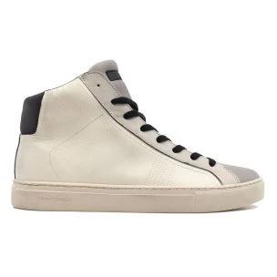 Crime London 11653 sneaker alta da uomo in pelle bianca