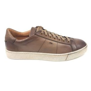 Santoni 20374 E50 sneaker da uomo in pelle beige
