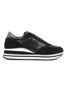 Crime London 25912 sneaker da donna in pelle nera