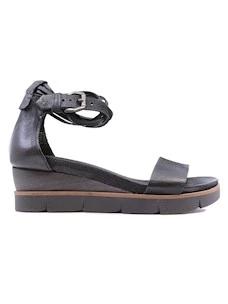 Mjus 866005 sandalo da donna con zeppa in pelle nera