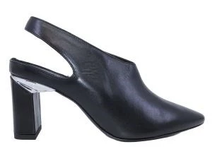 VIC MATIE' 8482 SLING BACK BLACK LEATHER WOMAN WITH HIGH HEEL