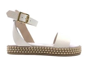 CECILE 2344 WOMEN'S WHITE LEATHER SANDAL