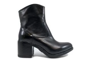 PAKROS P04002 BLACK BLACK LEATHER WOMEN'S ANKLE BOOT